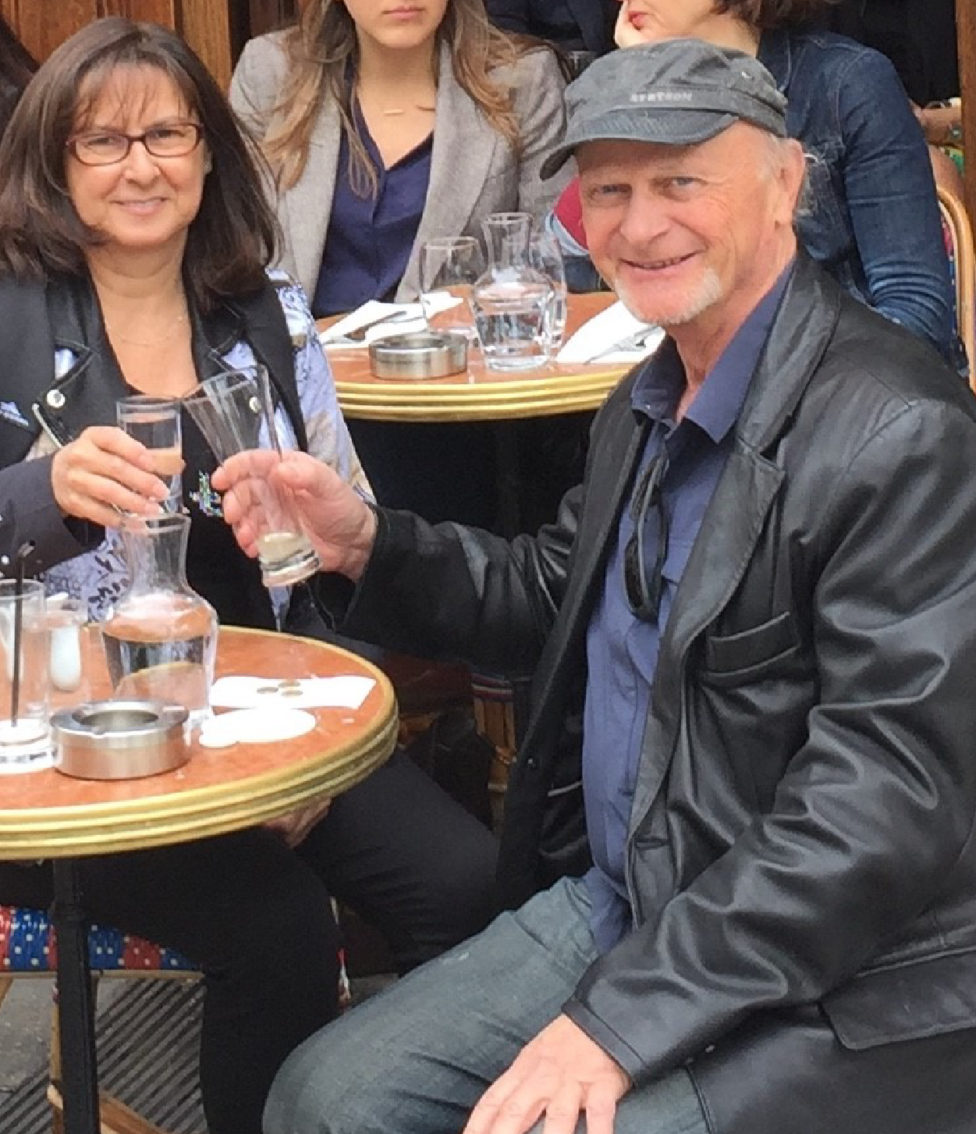 Jean-Louis Mendrisse sharing a drink with a member of our design team in Paris.